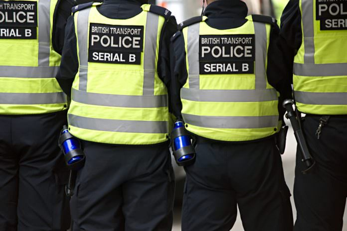 A line of British Transport Police. Credit: Keith Gentry/Shutterstock.
