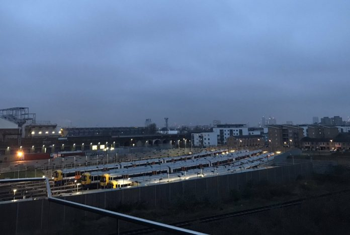 London Overground's fleet of Class 378s was grounded at TfL's New Cross depot because of urgent safety inspections. Photo: Chris Humphreys.